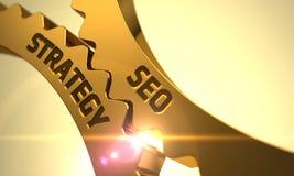 Engrenagens douradas com SEO Strategy Concept 3d Fotos de Stock
