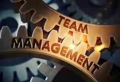 Engrenagens douradas com Team Management Concept ilustração 3D Foto de Stock Royalty Free