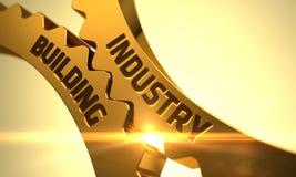 Engrenagens douradas da roda denteada com conceito da construção da indústria 3d Imagem de Stock