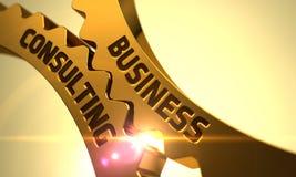 Engrenagens douradas da roda denteada com conceito da consultoria empresarial 3d Fotografia de Stock