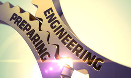 Engrenagens douradas da roda denteada com a engenharia que prepara o conceito 3d Foto de Stock