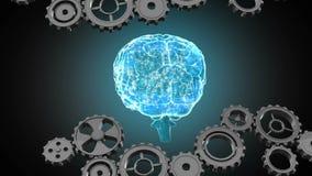 Engrenagens e cérebro humano de incandescência ilustração royalty free