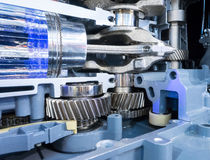Engrenagens e pistão de transmissão do motor Foto de Stock