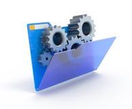 Engrenagens em um dobrador azul. Fotos de Stock Royalty Free