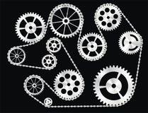 Engrenagens envolvidas por uma corrente ilustração stock
