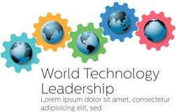 Engrenagens globais do líder da tecnologia do mundo Fotos de Stock