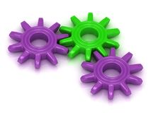 Engrenagens lilás e verdes Imagem de Stock