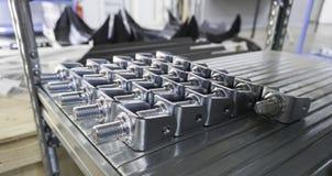 Engrenagens mecânicas no metal na casa da loja Foto de Stock Royalty Free