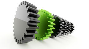 Engrenagens um verde Imagens de Stock Royalty Free