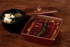 Enguia Roasted com arroz fotos de stock royalty free
