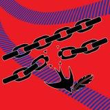 Engula o pássaro que quebra as correntes à maneira de liberdade Imagem de Stock Royalty Free
