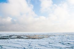 Drift ice floating at sea in winter. Engure, Latvia. Drift ice floating at sea in winter. Cloudy sky, mist, ice and water Stock Photography