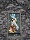 Enhörning av det våldsamma Skottland och röda lejonet, EDINBURG, SKOTTLAND Arkivfoto