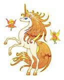 Enhörning och feer Royaltyfria Foton