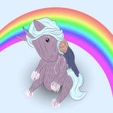 Enhörning på regnbågen Royaltyfri Illustrationer
