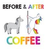 Enhörningar - före och efter kaffe royaltyfri illustrationer
