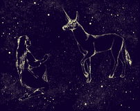 Enhörningen och flickan målade vid stjärnor i natthimlen också vektor för coreldrawillustration Royaltyfri Bild