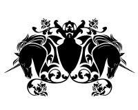 Enhörninghästar och steg det heraldiska emblemet för blommor stock illustrationer