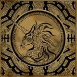 Enhörninghuvud på grungeantikvitetbakgrund Royaltyfria Bilder