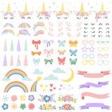 Enhörningkonstruktör Ponnyman som utformar packen, enhörningar horn och partistjärnaexponeringsglas Blommor, magisk regnbåge och  vektor illustrationer