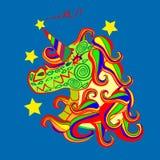 Enhörningsymbol på mörker - blå bakgrund Head ståendehästklistermärke, lappemblem Gullig för gullig magisk tecknad filmfantasi