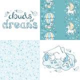Enhörninguppsättning Moln av drömmar royaltyfri illustrationer