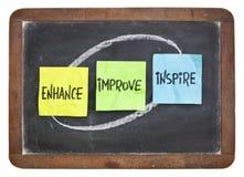 Enhance, improve, inspire on blackboard stock image