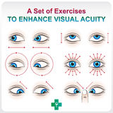 Enhance Visual Acuity. Ophthalmic allowance. Medical a visual aid set of exercises to increase visual acuity Royalty Free Stock Images
