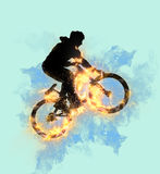 Enhanced bicycle stunt Stock Images