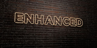 ENHANCED -Realistic Neon Sign on Brick Wall background - 3D rendered royalty free stock image Royalty Free Stock Images