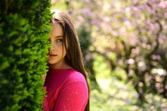 Enhancing the skins beauty. Beauty model with fresh look. Young lady in spring garden. Cute girl on spring nature. Pretty girl with young face skin and no royalty free stock image