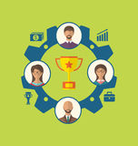 Enhet av affärsfolk som leder till framgång och att tilldela Arkivfoto