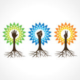 Enhet, segern och portionhanden gör trädet stock illustrationer