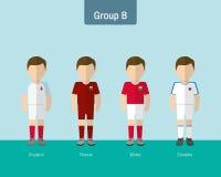 Enhetlig grupp B för fotboll vektor illustrationer