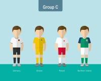 Enhetlig grupp C för fotboll stock illustrationer