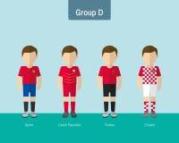 Enhetlig grupp D för fotboll vektor illustrationer
