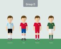 Enhetlig grupp 2016 för Copa fotboll D stock illustrationer