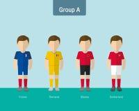 Enhetlig grupp A för fotboll stock illustrationer