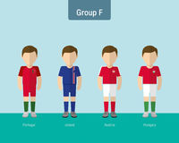 Enhetlig grupp F för fotboll stock illustrationer