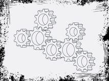 Enhetsvektorkugghjul med grunderamen på bakgrundsmodell stock illustrationer
