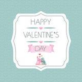 Enhorabuena al día de tarjeta del día de San Valentín label pájaros Cinta tipografía Vector Foto de archivo libre de regalías