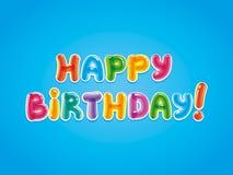 Enhorabuena con la fecha de nacimiento Texto de Baloon Tarjeta de felicitación del cumpleaños Fotografía de archivo