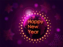 Enhorabuena de la Feliz Año Nuevo en el fondo de la tierra del planeta con el sol naciente Ilustración del vector libre illustration
