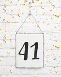 enhorabuena de la fiesta de aniversario del cumpleaños de 41 cuarenta una años imagen de archivo libre de regalías