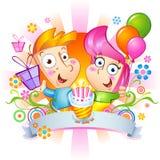 Enhorabuena del feliz cumpleaños stock de ilustración