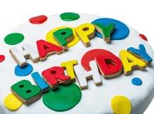 Enhorabuena del feliz cumpleaños de las galletas aisladas Fotos de archivo