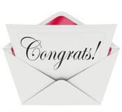 Enhorabuena del sobre de la tarjeta de carta abierta de la nota de Congrats Imágenes de archivo libres de regalías