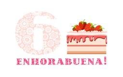 Enhorabuena en el aniversario, 6 años, torta de frutas de la fresa, español, blanco, rosa, vector stock de ilustración