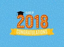 Enhorabuena en el ejemplo del vector del fondo de la clase de la graduación 2018 Foto de archivo libre de regalías