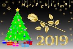 Enhorabuena en la Navidad 2019 en inglés Árbol de navidad con una estrella cinco-acentuada de oro, regalos y una rosa de oro ilustración del vector
